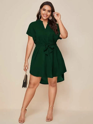 Women Plus Size Notched Neck Belted Tunic Dress