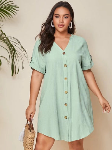 Women Plus Size Notched Neck Button Front Rolled Tab Sleeve Dress