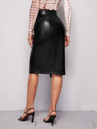 Women Notched Waistband Self Belted Buttoned Front Split Hem PU Leather Skirt