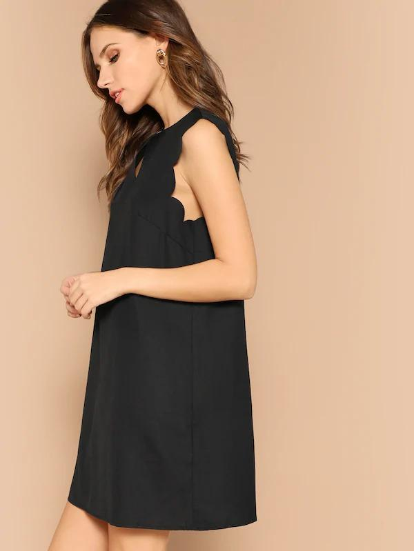 Notched Neck Scallop Trim Dress