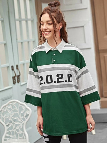 Women Number Print Striped Polo Shirt
