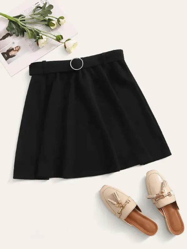 O-Ring Belt Skater Skirt