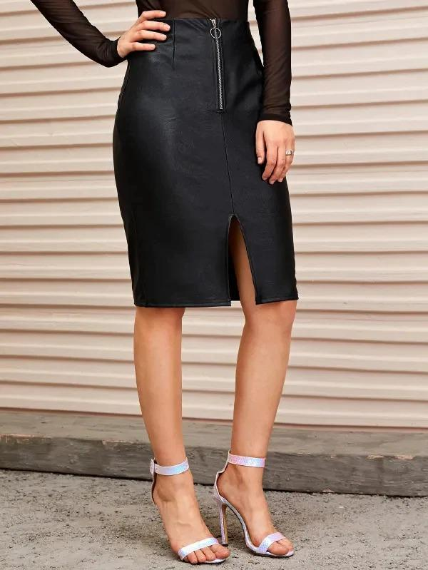 O-Ring Zip Front Slit Hem PU Skirt