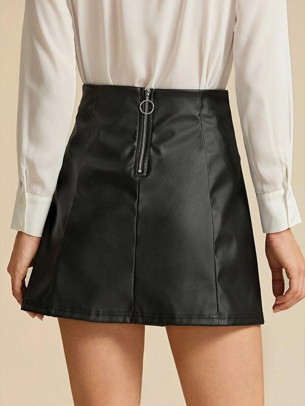 O-Ring Zipper Back PU Skirt