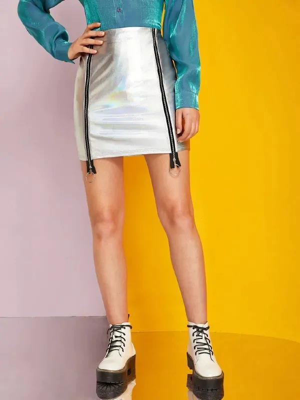 O-Ring Zipper Metallic Mini Skirt