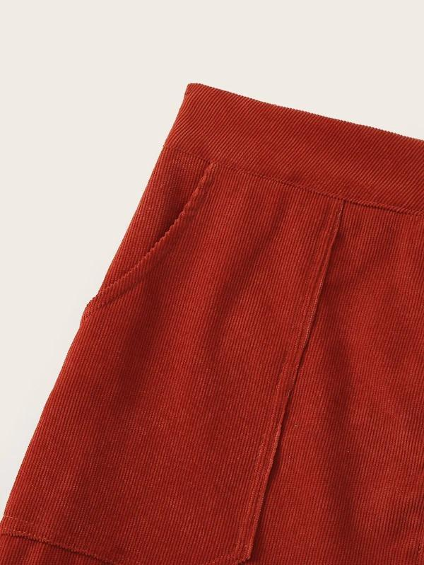 O-Ring Zipper Slant Pocket Corduroy Skirt