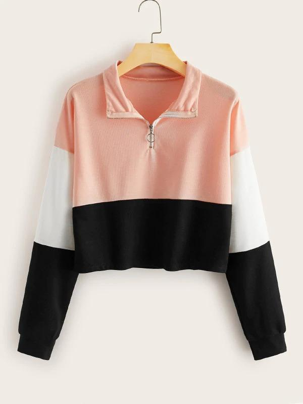 O-Ring Half Zip Cut And Sew Sweatshirt