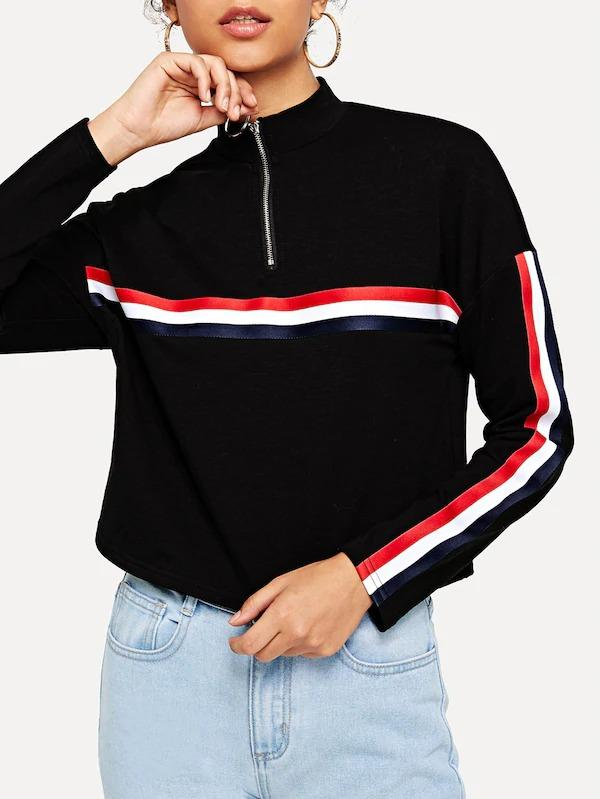 O-Ring Zip Front Striped Print Sweatshirt