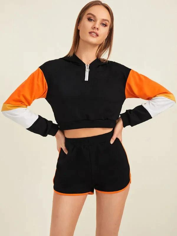 O-Ring Zip Half Placket Contrast Panel Crop Top With Track Shorts