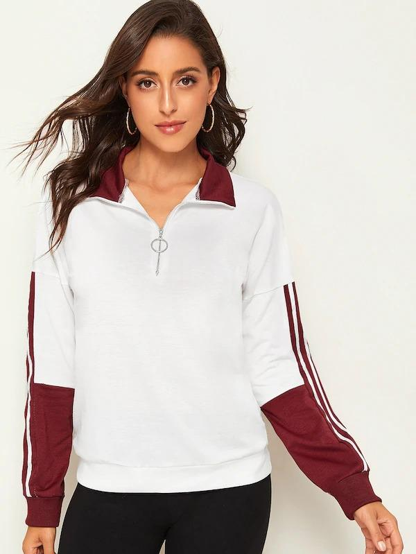 O-Ring Zip Half Placket Contrast Panel Striped Side Sweatshirt