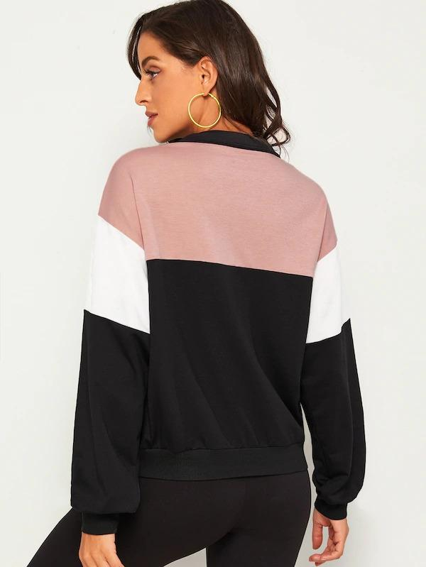 O-Ring Zip Half Placket Contrast Panel Sweatshirt
