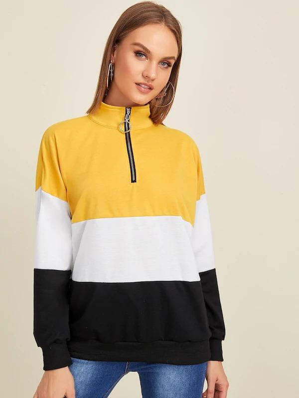O-Ring Zip Half Placket Cut And Sew Sweatshirt
