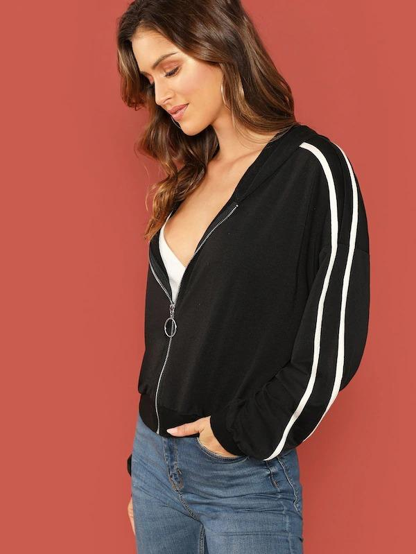 O-Ring Zip Up Hooded Striped Sweatshirt