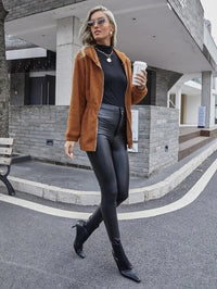 Women O-ring Zip Hooded Teddy Coat