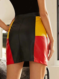 Women O-ring Zip Up Colorblock PU Leather Skirt