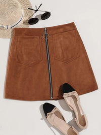 Women O-ring Zip Up Suede Skirt