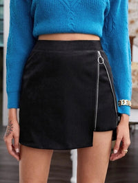 Women O-ring Zipper Detail Asymmetrical Hem Skirt