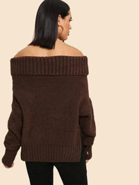 Off The Shoulder Rib Knit Trim Pullover