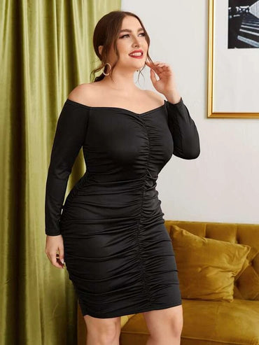 Women Plus Size Off Shoulder Ruched Bodycon Dress