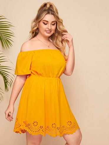 Women Plus Size Off Shoulder Scallop Laser Cut Hem Dress