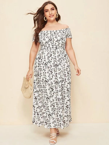 Women Plus Size Off Shoulder Shirred Split Ditsy Floral Dress