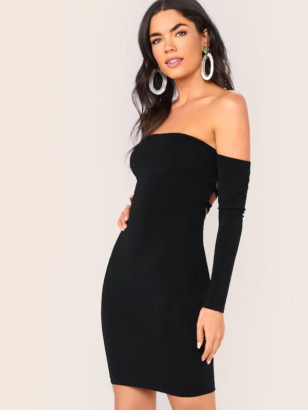 Off Shoulder Lace-Up Back Solid Bodycon Dress
