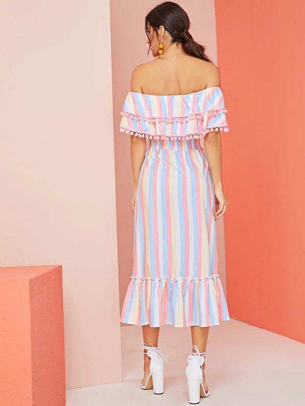 Off Shoulder Rainbow Striped Pom Pom Shirred Ruffle Hem Dress