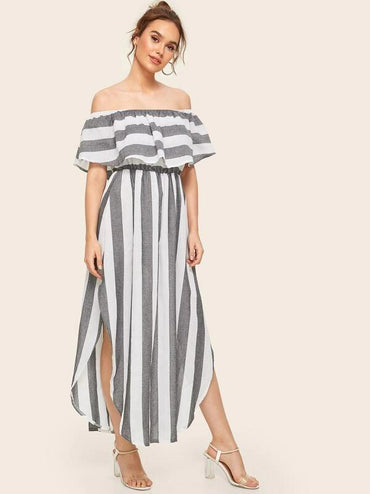 Off The Shoulder Ruffle Trim Split Striped Dress