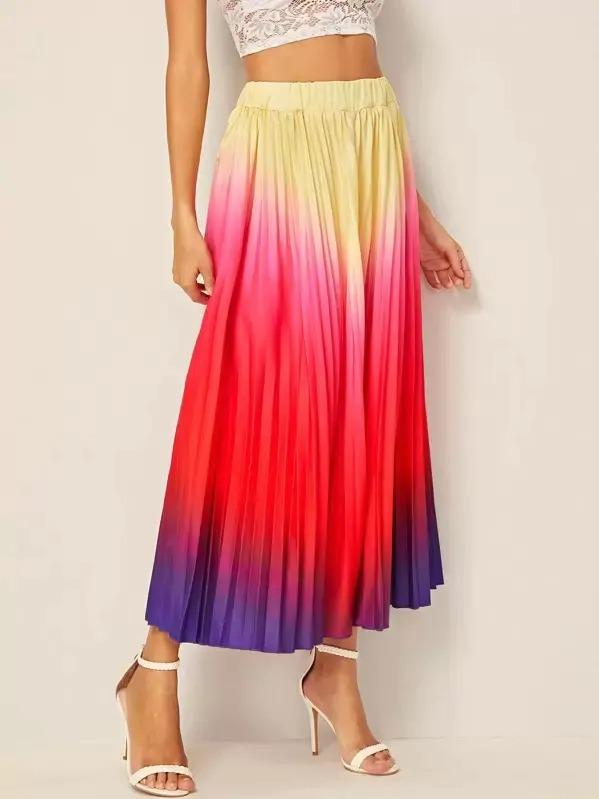 Ombre Pleated Longline Skirt