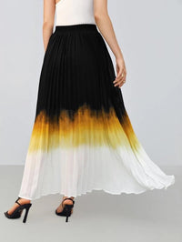 Women Ombre Pleated Maxi Skirt