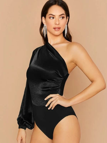 One Shoulder Foldover Detail Lantern Sleeve Satin Bodysuit