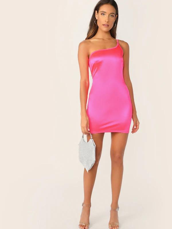 One Shoulder Neon Pink Bodycon Dress
