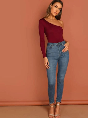 One Shoulder Slim Fitted Bodysuit