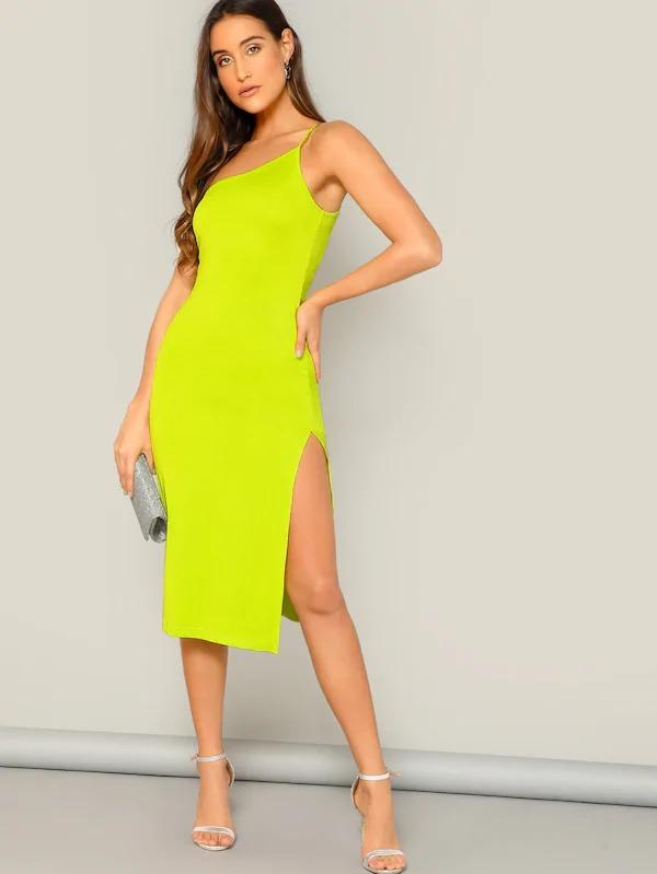 One Shoulder Split Thigh Form Fitted Dress