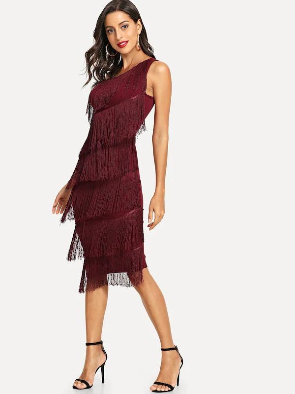 One Shoulder Tiered Fringe Bodycon Dress