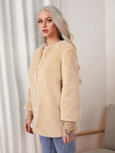 Women Open Front Teddy Coat