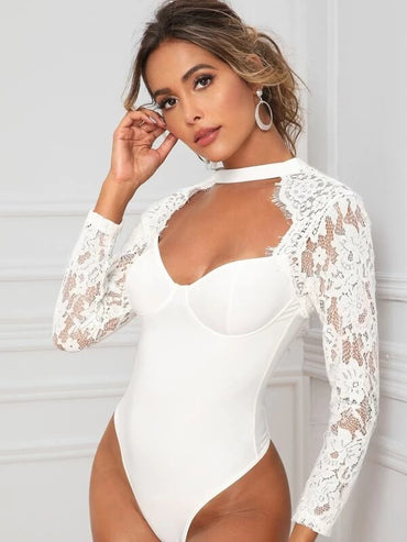Open Back Lace Panel Fitted Bodysuit