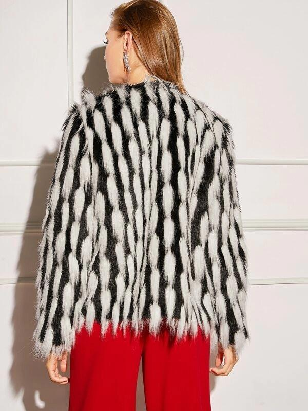 Open Front Two Tone Faux Fur Coat