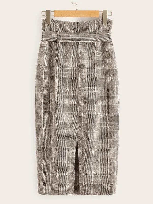 Overlap Front Plaid Belted Skirt