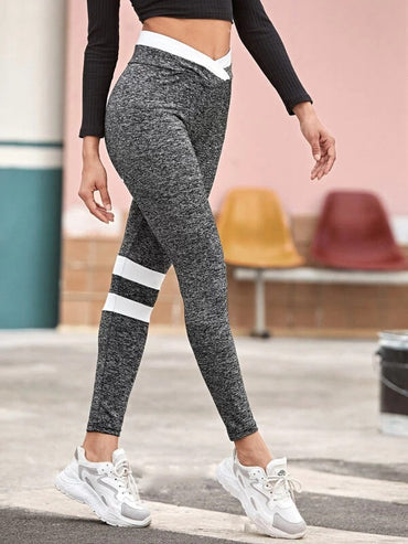 Overlap Waist Striped Colorblock Leggings