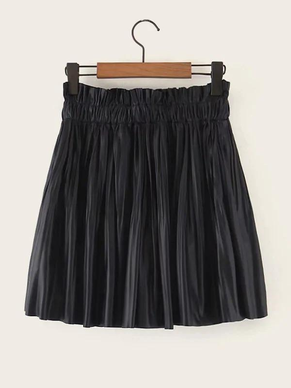 PU Paperbag Waist Mini Pleated Skirt