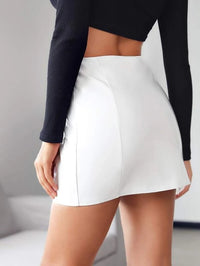 Women PU Single Breasted Mini Skirt
