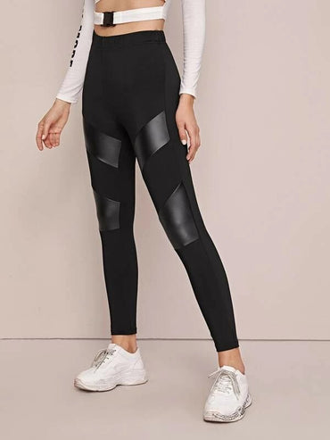 PU Leather Insert Skinny Leggings