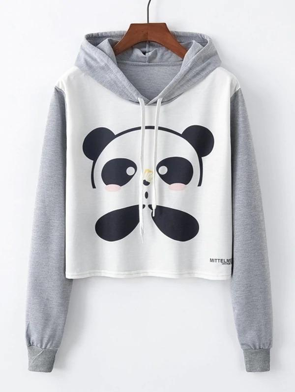 Panda Print Drawstring Detail Hooded Sweatshirt