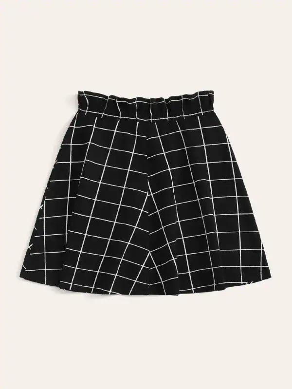 Paperbag Waist Button Front Grid Skirt