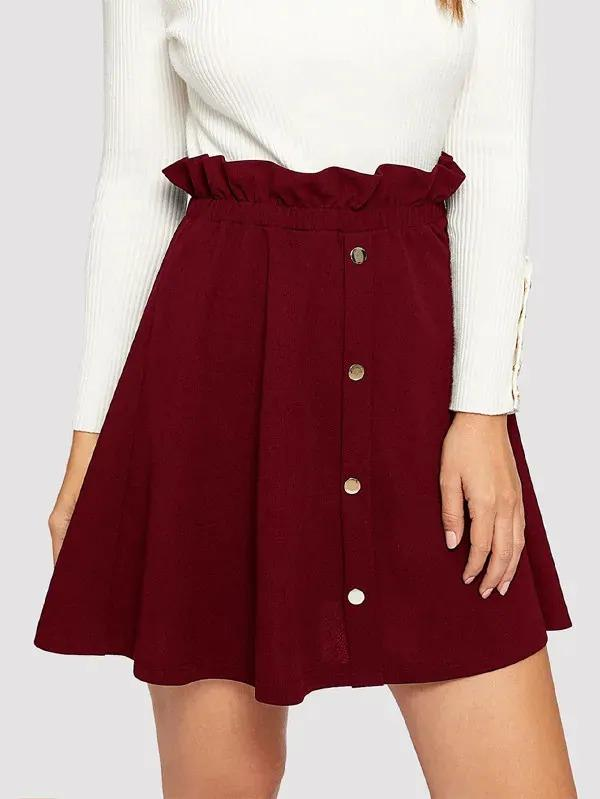Paperbag Waist Button Front Skater Skirt