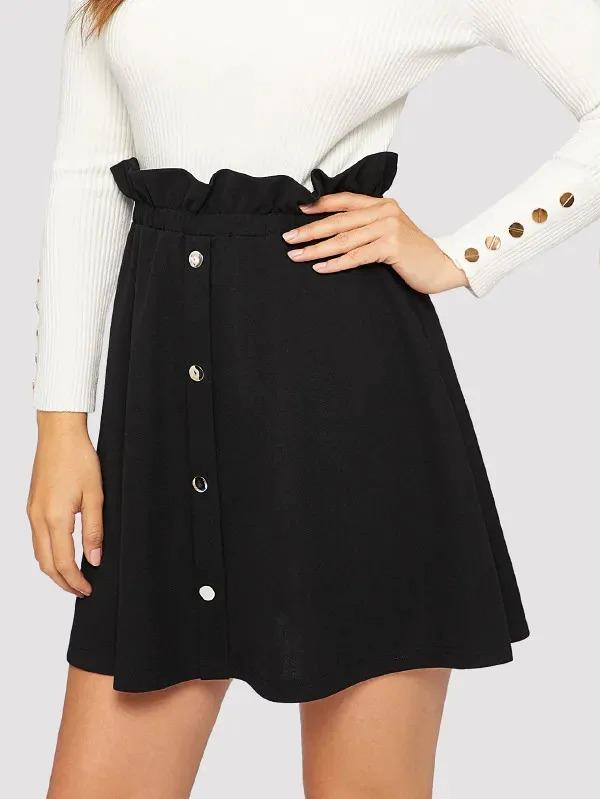 Paperbag Waist Button Front Skirt