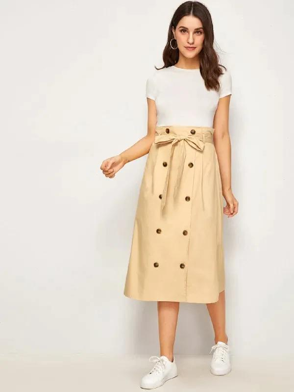 Paperbag Waist Double Breasted Belted Skirt