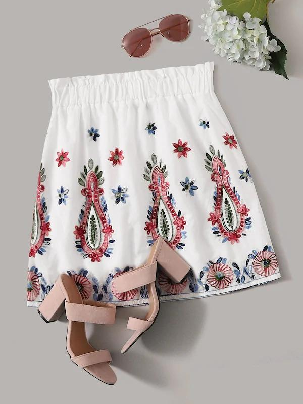 Paperbag Waist Embroidered Detail Skirt