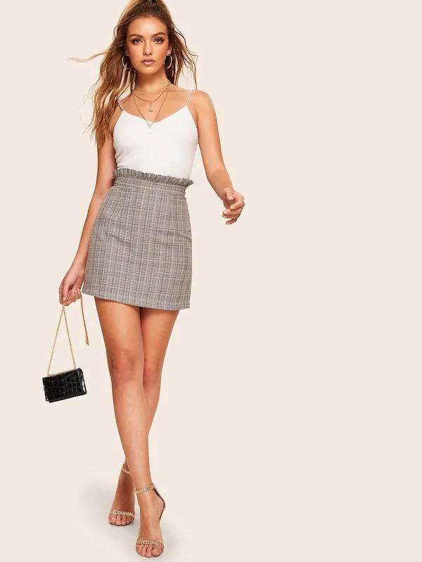 Paperbag Waist Plaid Fitted Skirt